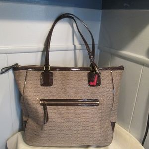 Coach Poppy Brown  Canvas Patent Leather bag